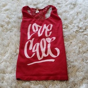 Size S red Love Cali lace back tanktop